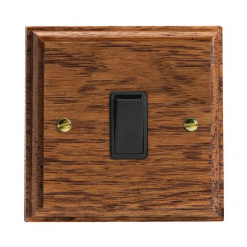 Varilight XK1MOB Kilnwood Medium Oak 1 Gang 10A 1 or 2 Way Rocker Light Switch
